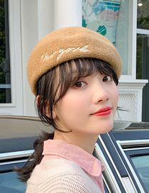 Fashion Khaki Wool Solid Color Season Embroidered Letter Beret