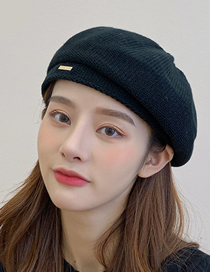 Fashion Black Knitted Solid Color Metallic Beret