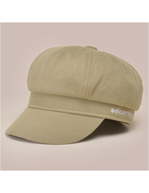 Fashion Khaki Solid Color Woolen Letter Embroidery Octagonal Hat