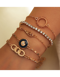 Fashion Gold Color Diamond-studded Alloy Dripping Sun Geometric Multi-layer Bracelet