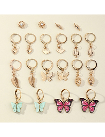 Fashion Gold Color Butterfly Love Resin Geometric Earrings Set