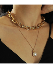 Fashion Gold Color Chain Pearl Pendant Geometric Multilayer Necklace