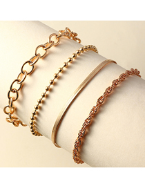 Fashion Gold Color Snake Bone Chain Round Bead Chain Alloy Multilayer Bracelet