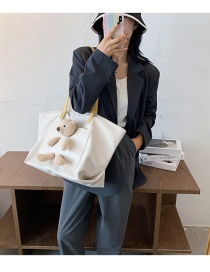 Fashion White Large-capacity Bear Doll Stitching Contrast Color Shoulder Bag