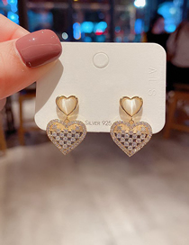 Fashion Gold Plated Color Diamond Opal Love Earrings