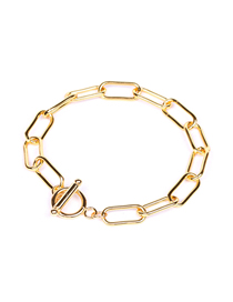 Fashion Gold Color B U-shaped Ring Ot Buckle Thick Chain Hollow Bracelet