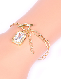 Fashion Gold Color Geometric Square Large Zircon Pendant Ot Buckle Thick Chain Bracelet