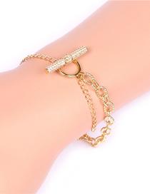 Fashion Gold Color Micro-inlaid Zircon Full Diamond Ot Buckle Thick Chain Bracelet