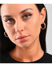 Fashion Gold Brass Geometric C-shaped Earrings