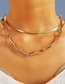 Fashion Gold Color Thick Chain Snake Bone Chain Alloy Multilayer Necklace