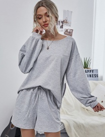 Fashion Gray Round Neck Loose Long Sleeve Shorts Suit
