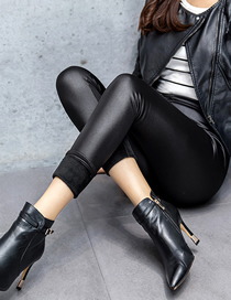 Fashion Black Velvet Faux Leather Skinny And Velvet Thick Cropped Pants