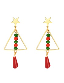 Fashion Color Christmas Tree Five-pointed Star Tassel Alloy Earrings