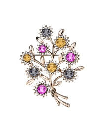 Fashion Color Flower And Diamond Alloy Hollow Brooch