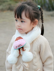 Fashion 【white】about 6 Months-8 Years Old Strawberry Plush Padded Childrens Bib Scarf