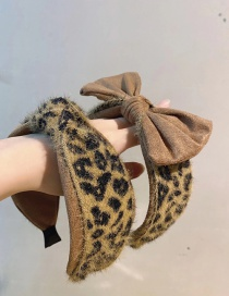 Fashion Brown Leopard Knotted Bow-knot Leopard-print Knotted Wide-brimmed Headband