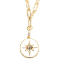 Fashion Six-pointed Star Micro-set Zircon Six-pointed Star Gold-plated Copper Necklace