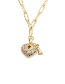 Collar Hueco Con Micro Zircon Love Key