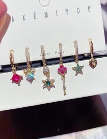 Fashion Real Gold Plated Christmas Series Micro-inlaid Zircon Four-leaf Clover Star Love Earrings