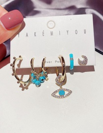 Fashion Real Gold Plated Micro-set Zircon Eyes Turquoise Geometric Earrings Set