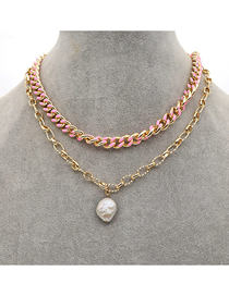 Fashion Pink Pearl Geometric Thick Chain Dripping Alloy Multilayer Necklace