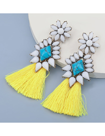 Fashion Yellow Alloy Inlaid Resin Turquoise Tassel Earrings
