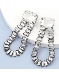 Fashion White Alloy Inlaid Glass Diamond Acrylic Geometric Earrings