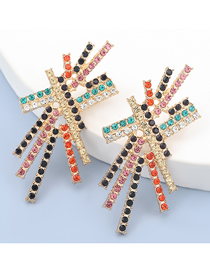 Fashion Color Alloy Diamond Geometric Earrings