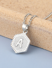 Fashion A Silver Color Geometric Alloy Letter Pendant Necklace