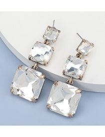Fashion White Alloy Diamond Multilayer Square Geometric Earrings