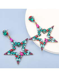 Fashion Color Alloy Diamond Five-pointed Star Hollow Earrings