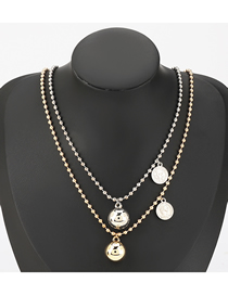 Fashion Gold And Silver Color Portrait Ball Pendant Alloy Multilayer Necklace