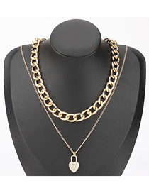 Fashion Gold Color Diamond Love Heart Thick Chain Alloy Multilayer Necklace