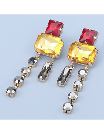 Fashion Red Yellow Square Glass Diamond Alloy Contrast Earrings