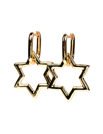 Fashion Gold Color Hexagonal Star Hollow Geometric Earrings
