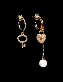 Fashion Gold Color Asymmetric Love Lock Key Earrings