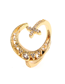 Fashion Gold Color Star And Moon Diamond Open Ring