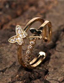 Fashion Gold Color Butterfly Inlaid Zircon Copper Gold-plated Double Ring