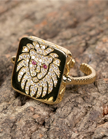 Fashion Gold Color Diamond Lion Head Geometric Open Ring