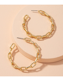Fashion Golden Hollow Circle Chain Alloy Earrings