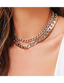 Fashion Golden Thick Chain Alloy Hollow Double-layer Necklace
