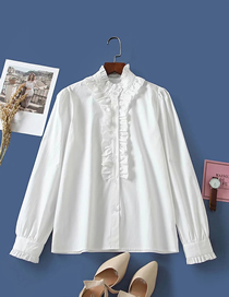 Fashion White Loose Shirt With Wooden Ear Trim Placket