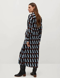 Fashion Geometric Patterns Geometric Dress With Printed Bow