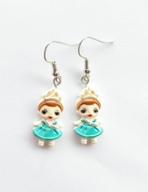 Fashion Ear Hook Blue + Orange Simulation Character Child Resin Alloy Earrings