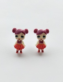 Fashion Stud Earrings Fuchsia Simulation Character Child Resin Alloy Earrings