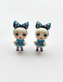 Fashion Earrings Royal Blue Simulation Character Child Resin Alloy Earrings