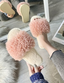 Fashion Inulin Teddy Hair Contrast Flat Slippers