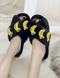 Fashion Black Banana Fruit Cross Plush Slippers