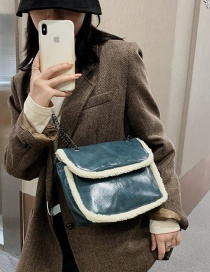 Fashion Blue Lamb Wool Chain Shoulder Crossbody Bag