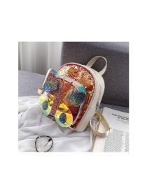 Fashion Golden Sequined Butterfly Contrast Color Kids Backpack